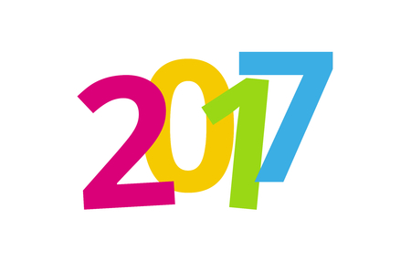 sylvester: 2017 happy new year color background design Stock Photo