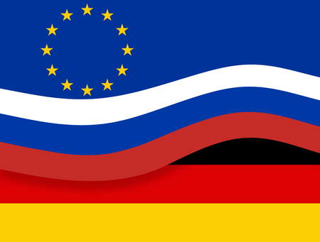 state owned: Original Europe and Germany and Russia Flag Background Stock Photo