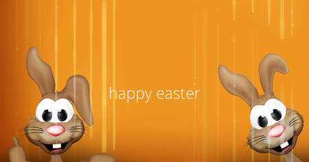 easter bunnies: two happy easter bunnies 3D orange striped background