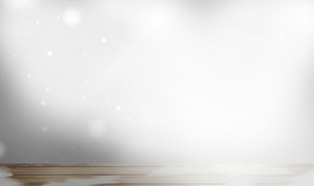 woden: winter wooden table snowflakes Stock Photo