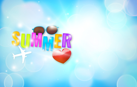 bold: Summer time big bold bokeh letters sunglass plane heart