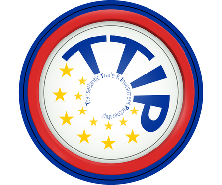 decisionmaking: TTIP 13 stars Europe color round icon and red warning color design