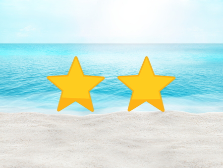 holiday budget: perfect beach summer travel hotel and place rating concept