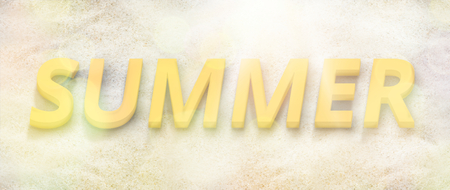 bold: summer time background bold font 3d illustration beach photo
