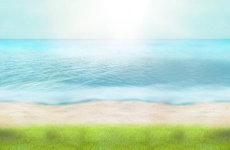 summer time green grass beach ocean water 3d render