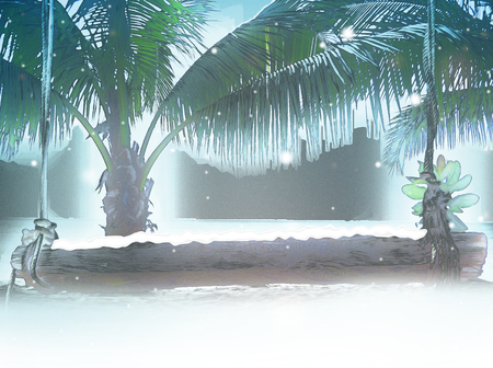 wooden bench: cartoon winter snowflakes at beach with palms wooden bench 3d illustration