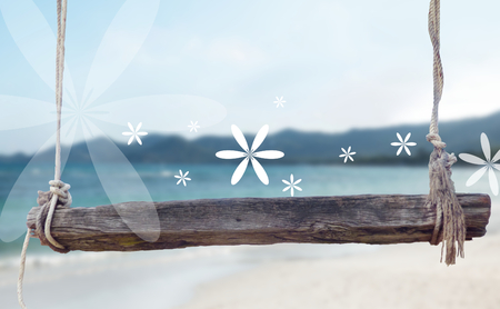 wooden bench: wooden bench with ropes front of blurred beach background 3d illustration