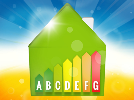 efficient: Energy Efficient House Scale Silhouette 3d illustration