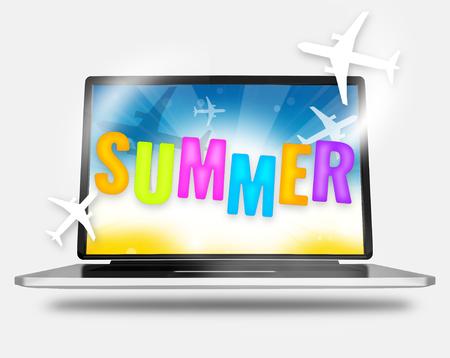 sumer: summer notebook online 3d illustration Stock Photo