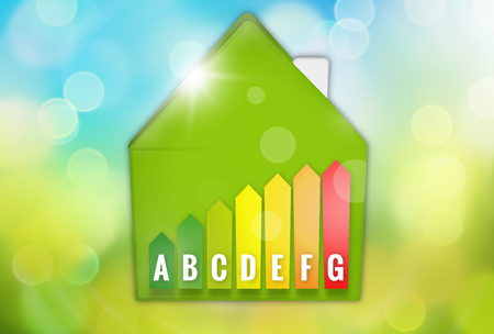 save heating costs: Energy Efficient House Scale Silhouette 3d illustration