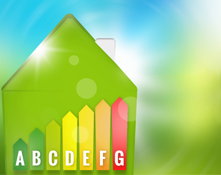 save heating costs: Green Energy-efficient house nature background Stock Photo