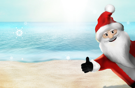 Christmas at the beach Santa Claus Thumbs Up 3D Render