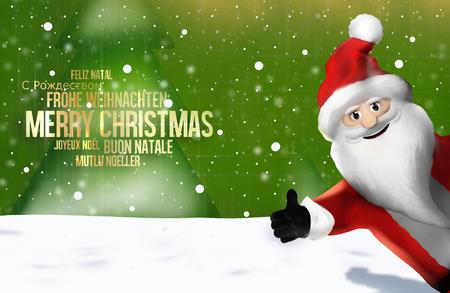 multilingual: Christmas multilingual Santa Claus Thumbs Up 3D Render Stock Photo