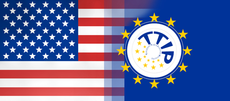 europe flags: USA and Europe flags background concept