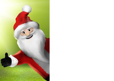 no snow: Christmas Santa Claus thumbs up 3d illustration