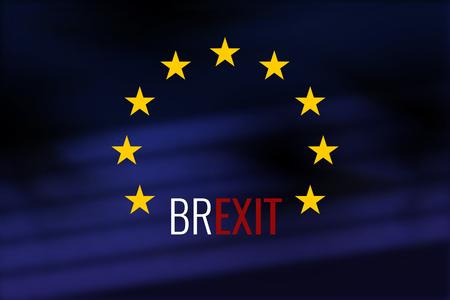 Brexit Großbritannien dunkel Europa-Flagge Hintergrund Design Standard-Bild