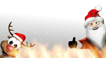 christmas fire: santa claus and reindeer christmas fire flames hot 3d render
