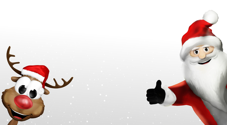 santa claus and reindeer christmas background 3d render