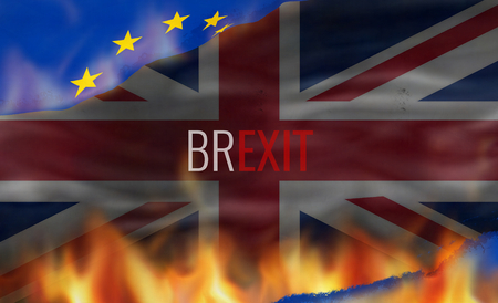 Brexit United Kingdom fire flames background