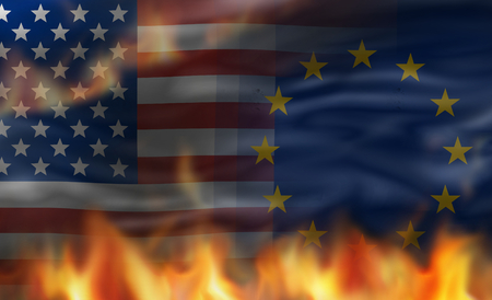 sue: European united states of america flag with flames design Stock Photo