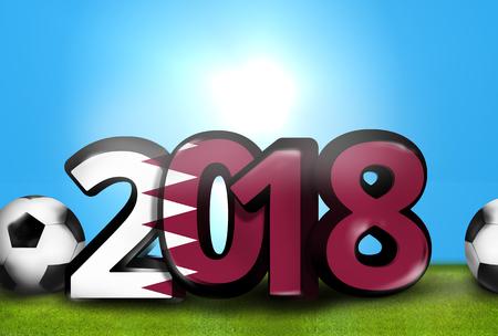 stadium lights: 2018 big bold font 3d render illustration Stock Photo