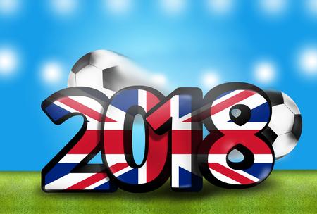 stadium lights: United Kingdom 2018 big bold font 3d render background Stock Photo