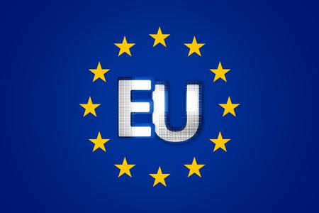 accession: Flag of Europe Background blue color design 3d render