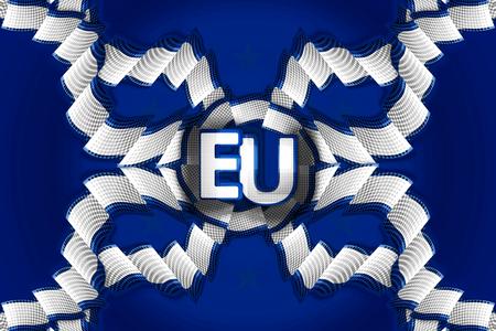 alliances: Europe decoration ribbon decoration strip blue background 3d render