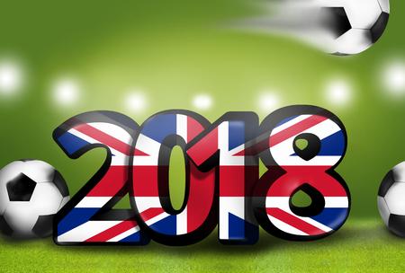 stadium lights: United Kingdom 2018 big bold font 3d render illustration