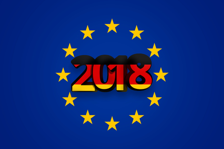 accession: Germany 2018 Flag of Europe Background blue color design 3d render