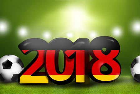 stadium lights: German german 2018 big bold font 3d render illustration