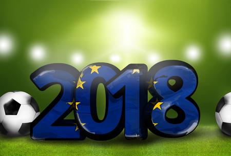 stadium lights: Europe 2018 big bold font 3d render illustration Stock Photo