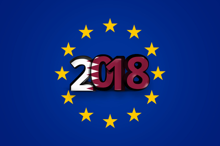 accession: qatar Flag of Europe Background blue color design 3d render