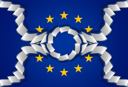 alliances: Europe decoration ribbon decoration strip blue background Stock Photo