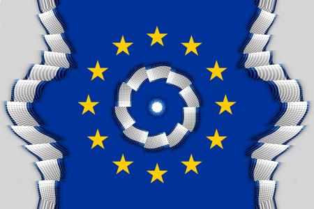 accession: Europe decoration ribbon decoration strip blue background Stock Photo