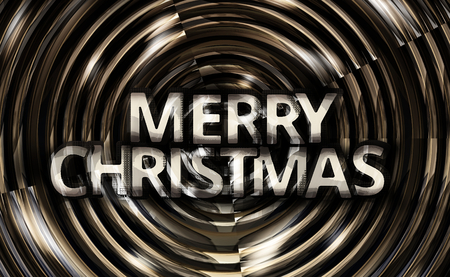 revaluation: Merry Christmas metallic spiral background glossy illustration 3d render