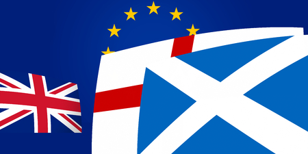 northern ireland: Northern Ireland Scotland and United Kingdom Flags front of Europe Stock Photo