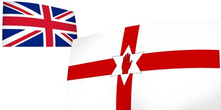 northern ireland: Northern Ireland and United Kingdom flags background