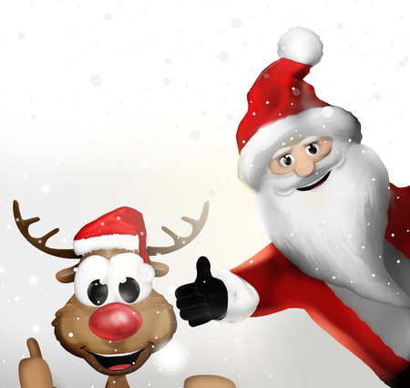 weihnachtsmann: christmas santa claus and a reindeer thumbs up