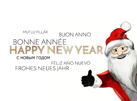 multilingual: multilingual happy new year background golden font 3d render