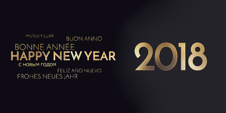 multilingual: multilingual happy new year background golden font
