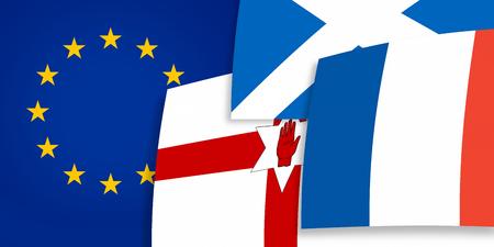 northern ireland: Northern Ireland Scotland Europe background flags