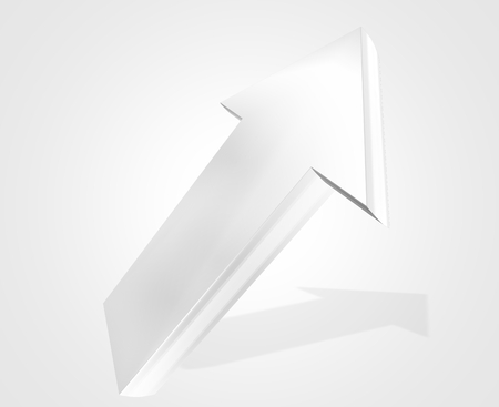 rise to the top: silver metallic colored arrow to top 3d render background Stock Photo