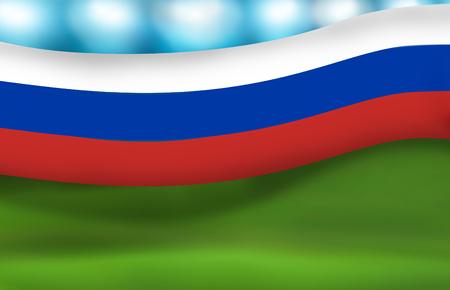 floodlights: russia russian stadium floodlights banner 3d render Stock Photo