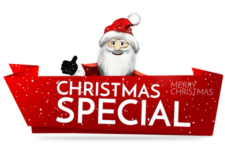 christmas anta claus red banner and snowflakes 3d render