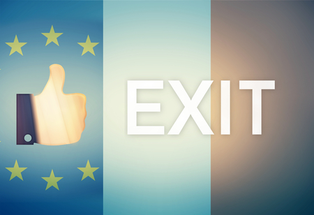 referendum: Thumbs up Referendum Exit Europe France Combined Flag Stock Photo