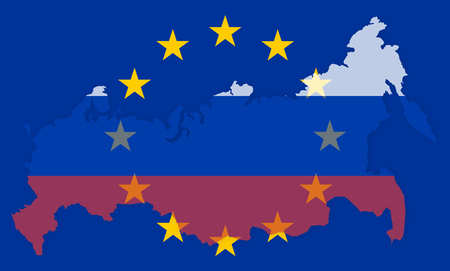 diplomatic: russia europe states government outline modern map regular design Stock Photo