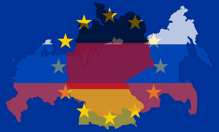 allied: russia europe germany states government outline modern map regular design