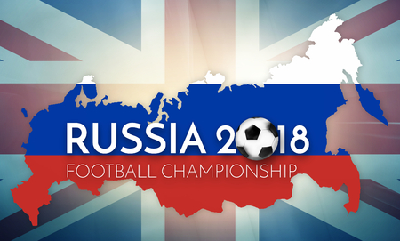 worl: soccer 2018 UK Russia government outline map regular design Stock Photo