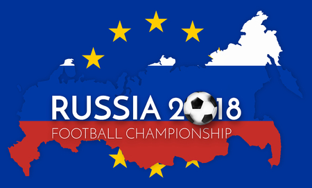 worl: soccer 2018 russia europe states government outline modern map regular design